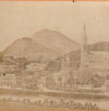 PHOTO ALBUMINÉE 1870 BASILIQUE DE LOURDES PELERINS CABINET par VIRON 16 X 10 cm