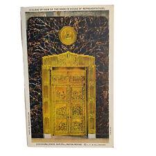 Baton Rouge Louisiana State Capitol Door House Of Representatives Linen Postcard