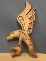 Wood Carving Eagle Catching Salmon, Bird Fish, Chief, Carving First Nations Art