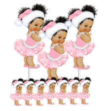 Christmas Ballerina Pink White Santa Hat Birthday Centerpieces Baby Shower Decor
