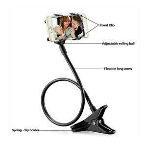 Clip-on Phone Holder Bedside Mounted Phone Bracket Flexible Neck Cell Phone Clip