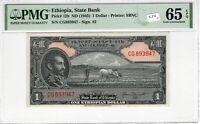 Ethiopia 1945 1 Dollar PMG Certified Banknote UNC 65 EPQ Gem Pick 12b SBNC Sig 2