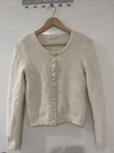 Alannah Hill Merino Angora Wool Cream Cardigan Size 12