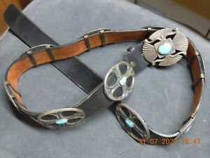 Silver Concho Belt with Turquoise, over 11 ounces of Silver