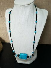 """Artisan Turquoise Stone, Jet Black Glass and Sterling Silver Toggle Necklace 19"""""""