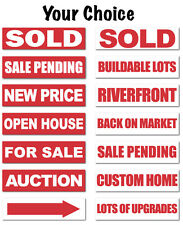 """Real Estate Sign Stickers 11.5"""" x 3"""" Weatherproof Vinyl, Bright Red, Pack of 10"""