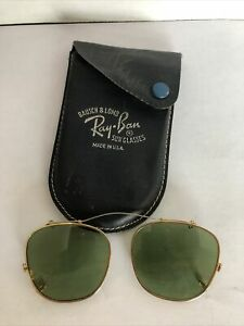 Vintage Bausch & Lomb Ray - Ban clip on Wire Tinted sunglasses & Case