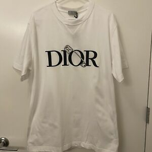 NEW Christian Dior White T-shirt Black Logo T-Shirt Tee Size XL
