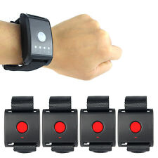 Wireless Restaurant Waiter Calling Pager System Watch Receiver+4 Call Button HOT