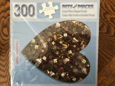 Chocolate Heart Bits and Pieces 300 Pc Shaped Jigsaw Puzzle NIB