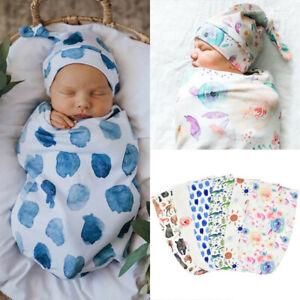 Newborn Infant Baby Swaddle Blanket Wrap Sleeping Bag Sleep Sacks Hat Outfits