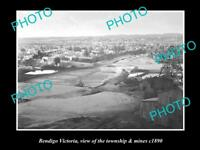 OLD LARGE HISTORIC PHOTO OF BENDIGO VICTORIA, VIEW OF THE TOWN & MINES c1890