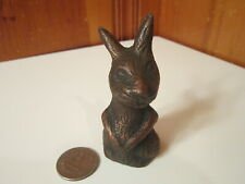"""Vintage Metal Mold Hand Crafted Sitting Bunny Rabbit 3 1/4"""" Figurine Copper EUC"""