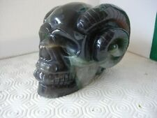 crystal skull with horns natural green agate geode