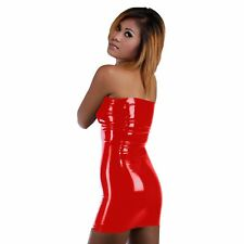 Brand New Red Latex Rubber Short Dress (one size)