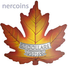 Canada 2016 Maple Leaf Shaped Colored $20 1 Oz Pure Silver Proof Coin Perfect
