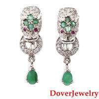 Estate Emerald Ruby White Topaz Sterling Silver Panther Earrings 8.3 Grams NR