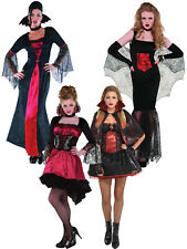 Ladies Vampire Costume Womens Vampiress Halloween Fancy Dress Adult Outfit