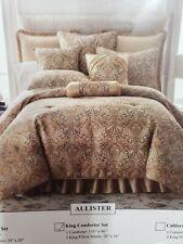 3 Pc Sherry Kline ALLISTER KING Comforter SET. woven jacquard gold tones In Bag
