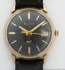 Vintage Bulova Sea King Whale Black Dial Automatic 1970 Mens Wrist Watch
