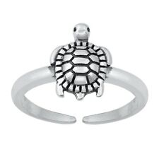 Sterling Silver Toe Ring 925 Turtle, Open Adjustable Silver Midi Ring Ocean Life