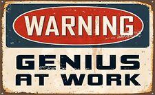 Genius at work warning funny door Sign Sticker Decal Graphic Vinyl Label