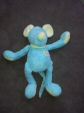 Doudou TARTINE ET CHOCOLAT souris bleu turquoise hochet grelot vert 25 cm