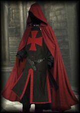 Medieval Red Templar Black Tunic, Surcoat & Red Cloak Reenactment SCA LARP