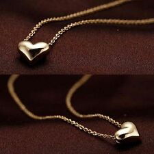New Gift Rose Gold Plated Simply Cute Heart Charm Necklace Pendant Chain