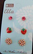 Clover strawberry earrings posts rhinestonesl studs three pairs Ella