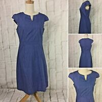 VOK size 10 Blue Checked Short Sleeved Fit N Flare 100% Cotton Dress