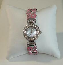 PINK BUBBLES~AUSTRIAN CRYSTAL LADIES BANGLE WATCH NEW