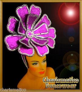 PURPLE Drag Queen STUNNING DIVA CABARET BIG FLOWER HEADDRESS HEAD GEAR
