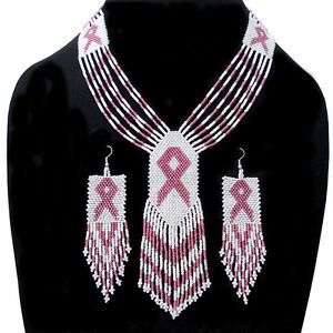 HANDMADE BEADED ETHNIC PINK WHITE BREAST CANCER PINK RIBBON NECKLACE EARRINGS