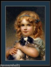English Picture Print Japanese Chin Puppy Dog Girl Vintage Poster Art