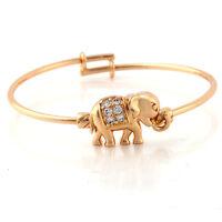"1.77"" childrens Gold Filled Crystal Elephants child bracelet Bangle kids jewelry"