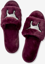 Victoria's Secret PINK Slippers Small Purple Sliver Dogs OPEN TOE SIZE M MEDIUM