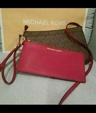 Michael Kors JET SET TRAVEL LG Pocket Messenger Bag & Wristlet $248 brown cherry