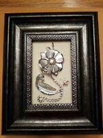 Handmade Vintage Floral Jewelry Statement Brooches Framed Art Collage/OOAK!