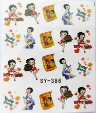 "Nail Art Glitter ""Red Gold Betty Boop""  Water Transfer Decal Stickers *NEW* 386"