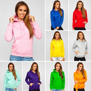 Kapuzenpullover Hoodie Pullover Sweatshirt Langarmshirt Damen BOLF Unifarben