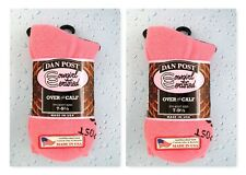 (2) Pair Dan Post Cowgirl Certified Over The Calf Womens Pink Boot Socks 7-9 1/2