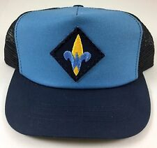 Vintage Snapback Trucker Hat - Boy Scouts - Dark & Light Blue Mesh - Youth