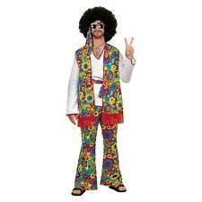 60s 70s Hippie Flower Power Adult Men Fancy Dress Up Halloween Costume Plus Size