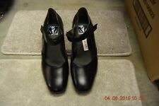 Black leather easy fasten strap Dancelife character shoes - size UK 4.5  (p77)
