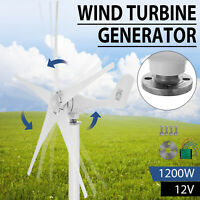 1200W Wind Turbine Generator DC 12V Charger Controller Home Power 5 Blades