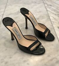 "JIMMY CHOO BLACK PATENT LEATHER OPEN TOE 4.5"" HIGH HEEL SANDALS SLIDES SIZE 37"