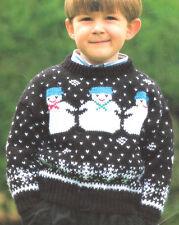"Baby Childrens Snowman Xmas Sweater 24"" -30""   ~ DK  Knitting Pattern"