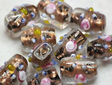 10 Indian Fancy Lampwork Verre Ovales Perles 15 x 10 mm clair/bronze (BBB566)