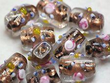 10 INDIAN FANCY LAMPWORK GLASS OBLONG BEADS 15 x 10mm CLEAR/BRONZE (BBB566)